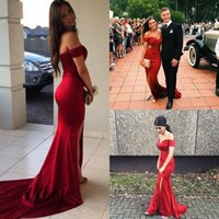 Wholesale Shoulder Photo - 2017 Hot Red Sexy Off Shoulders Sweep Train Satin Mermaid Prom Dresses Custom Made Split Evening Dresses Vestidos De Fiesta Party Gowns