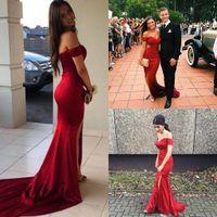 mais quente vestido de baile vermelho venda por atacado-Hot Red Sexy Off Shoulders Sweep Train Cetim Sereia Vestidos de Baile Custom Made Dividir Vestidos de Noite Vestidos De Fiesta Vestidos de Festa