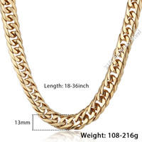 Wholesale Curb Link Mens Gold Necklace - steel necklace Trendsmax Gold Color Double Curb Link Rombo Fashion Mens Chain Boys 316L Stainless Steel Necklace HN57 HN58