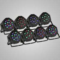 Wholesale Disco Laser Stage Lighting Light - 8Pcs Par 18x3W RGB LED Stage Light Strobe Disco KTV,Sound Active,Club Party,Wedding,Flat CAN,Laser,Lighting,Wash Color,led light bulb