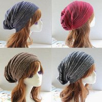 Wholesale Wholesale Wool Fiber Yarn - The Newhat warm knitted beanie winter women cap ski baggy knit beret slouchy wool chunky