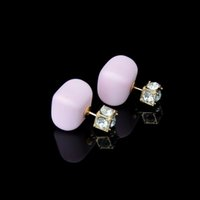 Wholesale Earrings Brands - Super Deal Brand Pearl Double Earrings balls Colorful Statement Zircon Channel Stud Crystal Earring Wedding Jewelry Women DHE204