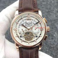 Wholesale Leather Skeleton Dress - luxury tourbillon Golden watch men Complications Perpetual Calendar moon phase PP automatic black dial skeleton wristWatch Men dress Watches