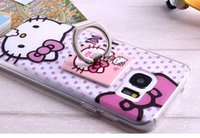 Pour Samsung Galaxy S7 EDGE souple TPU 3D Bonjour Kitty Totoro Bague Grip béquille clair Cute Cartoon peau Transparent Phone Luxe
