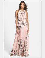 Wholesale Dresses Chiffon Pink Woman - New Arrival 2016 Women New Fashion Dresses pink printed flower Bohemian Chiffon Dress Summer Elegant Halter Sleeveless Dress Free Shipping