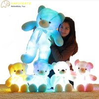 Wholesale Light Up Teddy Bear - 921 HANCHENTE Light Up LED Inductive Teddy Bear 50CM Creative Stuffed Animals Plush Toy Colorful Glowing Teddy Bear Christmas Gift for Kids