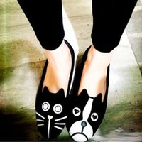 Wholesale Cat Dog Velvet Shoes - 2017 Spring Tide Product Personality Cat Dog Velvet Flat Shoes Loafers cats and dogs can each Choose one