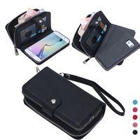 marco de las cajas del teléfono móvil al por mayor-Funda de cuero con cremallera magnética para Samsung GALAXY S5 / S4 i9500 Cubierta del teléfono móvil con Money Pocket Slots Marco de fotos