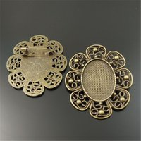 Wholesale Cameo Brooch Settings - 5pcs lot Vintage Nice Flower Brooches Cabochon Setting Antique Bronze Alloy Cameo Pins Brooch (Inner :40*30 mm) 57*49*2mm 33154