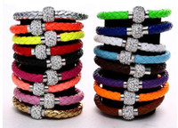 Wholesale Leather Wristbands Snaps - Mix 17colors PU Leather Bracelet Shamballa CZ Disco Crystal Bracelet Fashion Magnetic Clasp Bracelet Wristband Jewelry