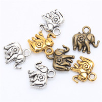Wholesale Elephant Charms Silver Plated - Retro Tibetan Silver Thailand Elephant Charm Pendant Findings For Craft DIY Jewelry Making 30pcs lot 12x12mm