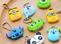 Wholesale Kawaii Key Hooks - 8Designs Kawaii Cartoon Monsters Minions Etc. Rubber KEY Cover Wallet Holder KEY Hook Cap Case Key Coat Wrap Coat Cover