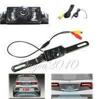 Barato Telhado Carro Hd Tv-New NTSC TV System 7 LED impermeável HD CMOS Licença imagem Placa Car Camera Universal 135 Night Vision Vista Traseira backup Câmara