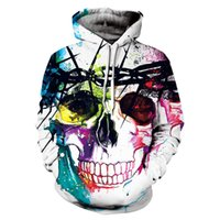 Wholesale Loose Skull Sweater - Warrior skulls 3D prints men's sports sweater Europe and the United States loose hooded couples baseball clothing free shipping