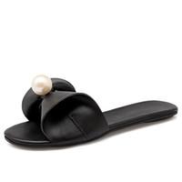 Wholesale Black N White Heels - Fashion women flip flops Beach sandals beads Bling summer slippers flat shoes female flats slides slippers
