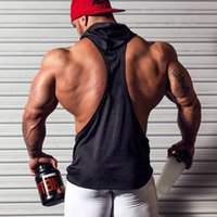 Wholesale Men S Vest Hoodies - 2016 New Solid Bodybuilding Stringer Hoodies Gym Cotton Pullover Hoodie Fitness Tank Top Men Clothing Sports Vest Undershirt Top
