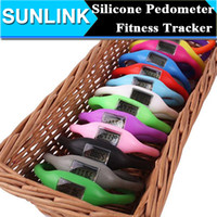 Wholesale Silicone Bracelet Sports Fitness - Kids Gift Candy Color Mini Anion Pedometer Silicone Fitness Tracker Wristband Rubber Bracelet pedometer Portable For Outdoor Sport Xmas