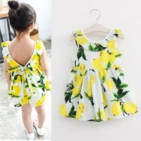 Wholesale sundresses for kids - Fashion Girls Lemon Dress Children Sundress Baby Girls Clothes V-back Ruffles Bowknot Dress for Kids Girl Dress Summer