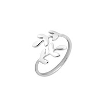 Wholesale Stretch Bands For Rings - Valentine Gifts for Girlfriend Fashion Jewelry Leaves Ring Laurel Leaf Stretch Rings for Women Party Wedding Gifts R166