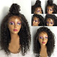 Wholesale Virign Peruvian Hair - Cheap Human Hair Wigs 8A Brazilian Virign Full Lace Wigs   Kinky Curly Lace Front Wig For Black Women With Baby Hair