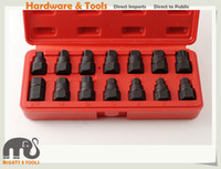 Wholesale Set Master Keys - 14pc Cr-V Master Oil Drain Plug Key Set: Hex Square Tri-angle Spline M16 Bits