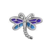 Wholesale Glass Dragonfly Pendant - 20pcs lot Alloy Enamel Animal Dragonfly Floating Locket Charms For Glass Locket Pendant