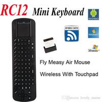 ingrosso usb remoto per android-Telecomando all'ingrosso Touchpad Measy Fly Air Mouse RC12 2.4G Wireless tastiera giroscopio gioco telecomando portatile per Android Mini PC TV Box Stick