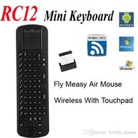 Wholesale Rc12 Keyboard - Wholesale Touchpad Measy Fly Air Mouse RC12 2.4G Wireless Keyboard Gyroscope Game Handheld Remote Control for Android Mini PC TV Box Stick