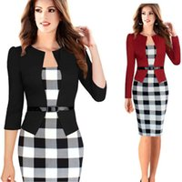 Wholesale ladies formal pencil skirts - Ladies Career Formal Working Dresses Full Sleeve Pencil Plaid Dress Female Bodycon Slim Dresses With Belt New Autumn Skirt