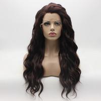 perruques auburn ondulées achat en gros de-Iwona Cheveux Ondulés Longue Foncée Perruque Auburn 6 # 33 Moitié Main Lié Lourde Synthèse Synthétique Perruque Avant de Lacet