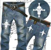 Wholesale Anime Jeans - Wholesale-FTWL anime men jeans pants one piece White beard straight brand new arrival ACE 2colors 28-36