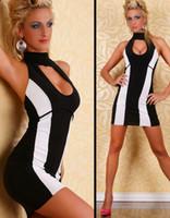 robe de nuit conçoit des femmes achat en gros de-Robe de soirée à bretelles design pour femme, économisez 20% sur une tenue de club sexy à rayures noires et blanches