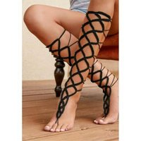 Wholesale Crochet Sandals For Women - Black Crochet Leg Gladiator Style Lace Up Cotton Barefoot Sandals Ankle Bracelet Heels Anklets for Women Sexy Body Jewelry AK0126
