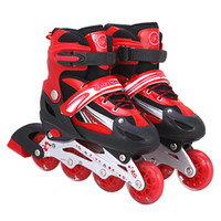 Wholesale Retractable Roller Skate Shoes - Children eight full flash PU rubber roller skates adjustable adult suit free shipping retractable luminous skate shoes