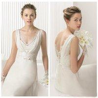 Wholesale Soft Chiffon Sheath - Custom Made 2017 Lace Bridal Dress Sheath Wedding Gown V Neck Brush Train Soft Tulle Plus Size Beach Chiffon Casual Bride Clothing