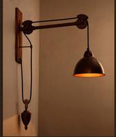 vintage endüstriyel kasnak toptan satış-Bar Rustik Mili Kasnak duvar lambası ışık E27 led ampul Arandela vintage Endüstriyel aydınlatma Kahve dükkanı Retro duvar ışık aplikleri