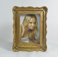 "Wholesale Resin Photo Frame Picture - 4x6"" and 5x7"" Mahal Picture Frames Rectangle Antique Golden Creative Resin Photo Frame With Ripple Edge Design"