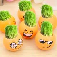 Wholesale Decorative Floor Lights - Cartoon Emoji Decorative Planter Lovely Yellow Smiling Face Plant Pot For Many Styles Home Decor Gift 2 56kl C R