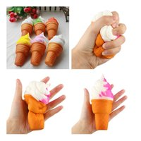 Wholesale Ice Cream Cone Toy - Cute Soft Jumbo Ice Cream Cone Squishy Slow Rising Cell Phone Straps Bread Antistress Scented Key Pendant Charms Kids Toys