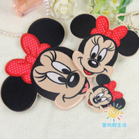 Wholesale Cartoon Iron Patches - Cartoon mickeyi mouse Embroidered Iron On Applique Patch sewing on the apparel 8x9cm to choose clothing accessories minniee