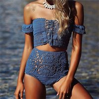 Wholesale Strapless Bikinis - 2017 New Crochet Strapless Bikini Swimsuits For Women Europe and America Off Shoulder Vintage Flouncing High Waist Bikini Set