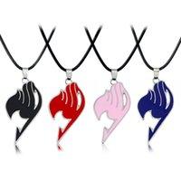 logotipo de cola de hadas collares al por mayor-Fairy Tail necklace guild logo tattoo colgante collar Anime fashion jewelry cuerda de cuero para hombres y mujeres collares