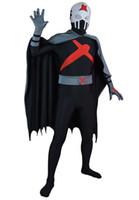 zentai personalizado al por mayor-Conjunto completo de X Teen Titans Custom Red Superhero Costume Halloween Party Cosplay Zentai Traje