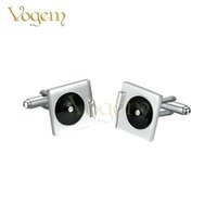 Wholesale 18 K White Gold Jewelry - Vogem New Arrival Classy Formally occasions Disc shape Plated 18 k Black-White Fashionable Bussiness Cufflinks For Men's Gift Vogue Jewelry