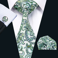 gravatas verdes prateadas venda por atacado-Moda Floral Mens Laços De Seda Prata Verde Negócios Lazer Gravata Definir Incluem Tie Abotoaduras Hankerchief Gravata N-1211