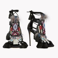 Wholesale Exotic Heels - 2016 new exotic feathers with high-heeled shoes sandals exotic style