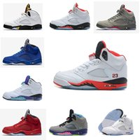 Wholesale Color Thread For Leather - 2017 Classic retro 5 basketball shoes white cement black metallic red blue suede Oreo sneakers Grape color bel air Oreo for men