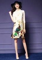 Wholesale Cheongsam Temperament - 2016 European Retro Cheongsam Spring And Summer Collar Temperament Loose Silkworm Silk Print Woman Fashion Dress