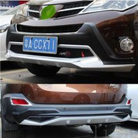 Car-styling plastic + ABS front + Rear Bumper board protector skid plate bar protector para Toyota RAV4 2013 2014 2015 (CON LAMPARA LED) accesorios