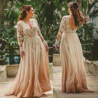 hint düğün uzun giysileri toptan satış-A-Line Gelin Kıyafeti Plaj Hint Tarzı Backless Dantel Vestido de novia Seksi Derin V Boyun Güzellik Boho Plaj Uzun Şampanya Gelinlik
